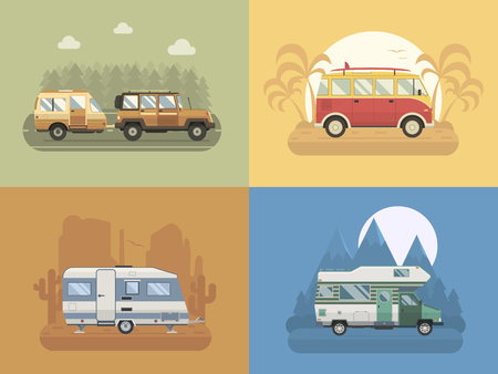 RV travel concept set. Camping trailer family caravan collection. Traveler truck campsite place landscape. Mountain park, desert area, palm beach and road trip. Tourist bus, SUV, trailer and motorhome in flat. Vettoriali