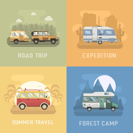 tourist bus: RV travel concept set. Camping trailer family caravan collection. Traveler truck campsite place landscape. Mountain park, desert area, palm beach and road trip. Tourist bus, SUV, trailer and motorhome in flat. Illustration