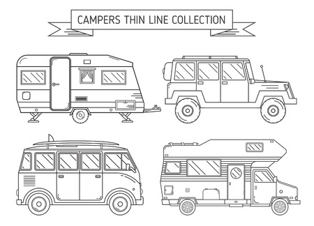 camper trailer: RV travel concept set. Camping trailer family caravan line art icon collection. Traveler trucks in black and white outline pictogram. Tourist bus, SUV, trailer and motorhome single line icons.