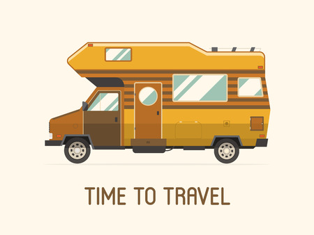 Camping trailer family caravan. Traveler truck camper flat style icon isolated on white. Vector vacation RV travel illustration.