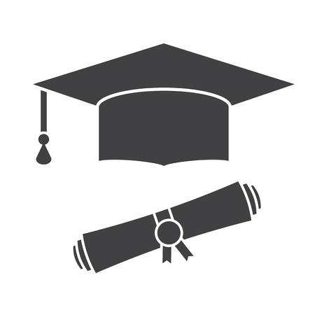 Afstuderen hoed en diploma scroll outline vector icon. Graduation cap viering silhouet pictogram voor web en toepassingen. Geïsoleerde vector afstuderen student hoed