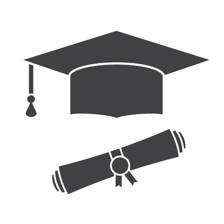 school website: Graduation hat and diploma scroll outline vector icon. Graduation celebration cap silhouette pictogram for web and applications. Isolated vector graduation student hat Illustration
