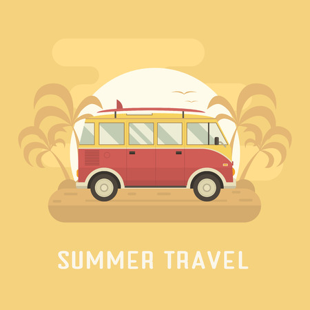 tourist bus: Surfing bus on palm beach. Travel coach summertime concept. Travel omnibus old vintage red color with surfing board on summer coast. Tourist bus family summer trip.