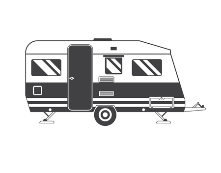 summer season: Camping trailer family caravan. Traveler truck camper outline icon in thin line design. Vector flat vacation RV illustration isolated on white background