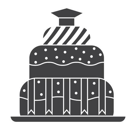alumnus: Graduation cake silhouette outline design icon. Student day cake pictogram. Graduation pie shape black and white symbol. Illustration