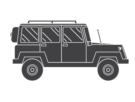 4wd: Adventure traveler truck outline vector icon. Suv jeep for safari and extreme travel pictogram in black and white. Monochrome silhouette Rv icon