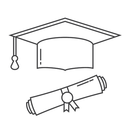 Graduation hat and diploma scroll line art vector icon. Graduation celebration cap linear pictogram for web and applications. Isolated vector graduation student hat Illustration