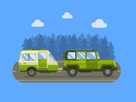 family trip: Road travel trailer and SUV driving on forest area road. Family traveler truck summer trip concept. RV travel landscape poster. Camper on road trip.