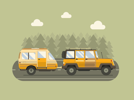 rv: Road travel trailer and SUV driving on forest area road. Family traveler truck summer trip concept. RV travel landscape poster. Camper on road trip.