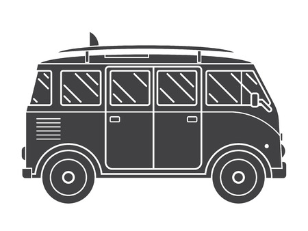 omnibus: Travel omnibus family camper silhouette. Traveler truck tourist bus outline vector icon. RV travel surfing bus label in black and white shape pictogram isolated on white.