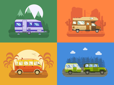 family trip: RV travel concept set. Camping trailer family caravan collection. Traveler truck campsite place landscape. Mountain park, desert area, palm beach and road trip. Tourist bus, SUV, trailer and motorhome in flat. Illustration