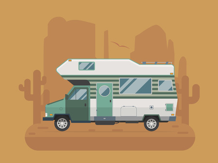 campsite: RV travel concept. Traveler truck campsite place landscape. Summertime camper trailering on National park desert area. Camping scene with family trailer caravan near buttes and cactus.