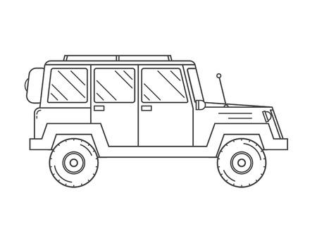 모험 여행자 트럭 개요 및 얇은 선 아이콘. Suv 지프 사파리 및 극단적 인 여행 픽토그램 흑백으로. 벡터 단색 실루엣 Rv 아이콘