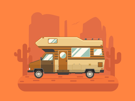colorado mountains: RV travel concept. Traveler truck campsite place landscape. Summertime camper trailering on National park desert area. Camping scene with family trailer caravan near buttes and cactus.