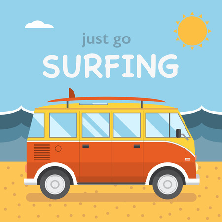 cartoon surfing: Summer beach camping island landscape with surfing bus, seaview, sand and sun. Travel omnibus family summertime holidays. Vacation poster concept. Surf camp, rv travel coach in flat design Illustration