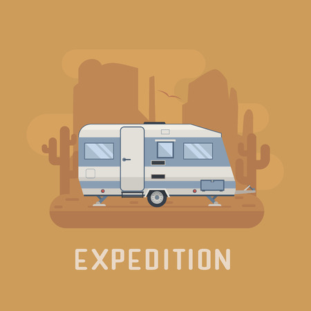 colorado mountains: RV travel concept. Traveler truck campsite place landscape. ?amper trailering on National park desert area. Camping scene with family trailer caravan near buttes and cactus.