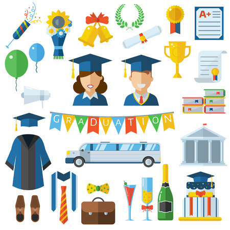 alumnus: Graduation vector icon set of exam celebration elements in flat design. Man and woman graduates in hats and gowns. Celebrating education party symbols. Graduation celebration concept.