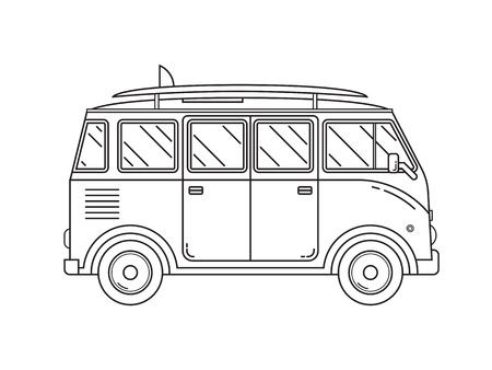 family van: Travel omnibus family camper thin line. Traveler truck tourist bus outline icon. RV travel surfing bus black and white vector pictogram isolated on white. Illustration