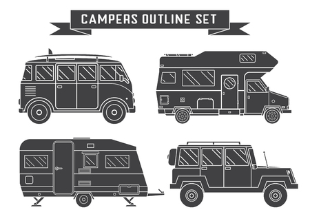 omnibus: RV travel concept set. Camping trailer family caravan outline icon collection. Traveler trucks in black and white silhouette pictogram. Tourist bus, SUV, trailer and motorhome shapes. Illustration