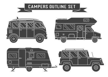 RV Travel Concept Set Camping Trailer Family Caravan Outline Icon Collection Traveler Trucks In