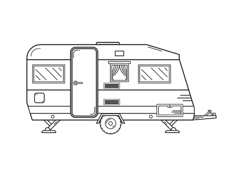 camper trailer: Camping trailer family caravan. Traveler truck camper outline icon in thin line design. Vector flat vacation RV illustration isolated on white background