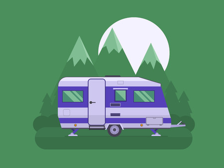 campsite: RV travel concept. Traveler truck campsite place landscape. Summertime camper trailering. National mountain park camping scene with family trailer caravan at night.
