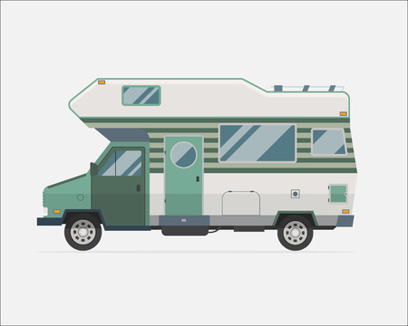 Camping trailer family caravan. Traveler truck camper flat style icon isolated on white. Vector vacation RV travel illustration.  Road travel trailer vector.