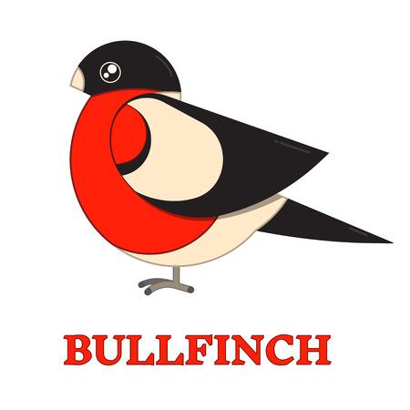 finch: Bullfinch winter bird line art icon. Birdwatching popular bird collection. Flat design geometric funny bullfinch. Simple shape and linear warbler bird style