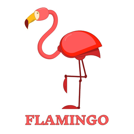 wader: Pink flamingo exotic bird line art color icon. Birdwatching popular bird collection. Flat design red flamingo isolated on white. Simple and cute style.
