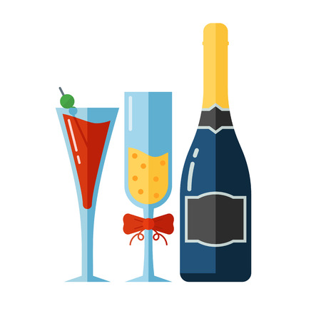 champaign: Alcohol drink bottle and full glasses with liquid. Celebration toast concept with goblets, coctail and alcohol drinks.