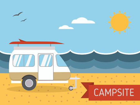 Summer beach camping island landscape with caravan camper, seaview, sand and sun. Family travel RV campsite scene in flat style. Vacation postcard concept.