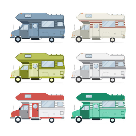 rv: Camping trailer family caravan collection. Set of recolored traveler truck camper flat style icons isolated on white. Vector vacation motorhome RV illustration. Illustration