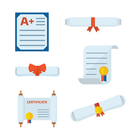 certifying: Diploma scroll collection. Diploma certificate, diploma scroll, graduation test blank and diploma icons. Set of vector diploma pictogram
