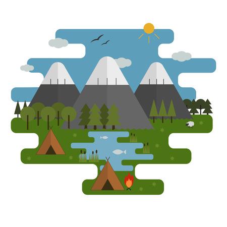 Mountain lake camp ecological landscape in flat design. National park wildlife sanctuary scene summer camping. Vector minimal style illustration.