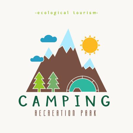 turismo ecologico: Acampar parque recreativo vibrante color plano labrado paisaje. Ecológica cuadro del concepto de turismo. Camp, rocas, madera y el sol en esquema simple diseño creativo.