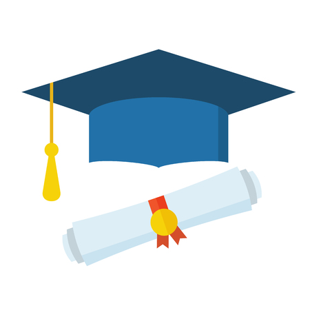 college professor: Graduation hat and diploma scroll flat design icon. Graduation celebration cap web cartoon icon. Isolated vector graduation student hat