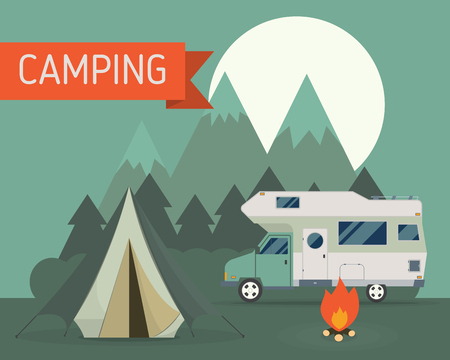 rv: National mountain park camping scene with family trailer caravan at night. Campsite place landscape with RV traveler truck, tent, campfire, wood and rising moon.  Outdoor journey hiking traveling vacation concept.