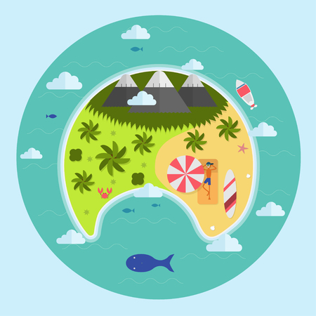 aerial view: Paradise tropical island aerial view. Palms, clouds and relaxing guy on beach in lounge under umbrella near the surfboard. Summer vacation concept landscape in flat design.
