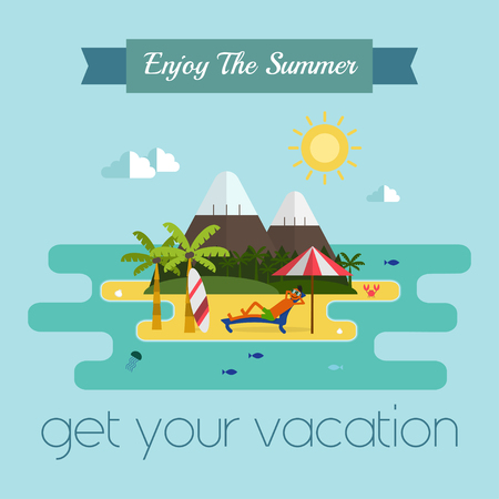 lounging: Tropical island vacation postcard. Relaxing guy lounging at the beach with surfing desk and umbrella. Idyllic paradise coast landscape with mountains. Summer vacation concept in flat style design Illustration