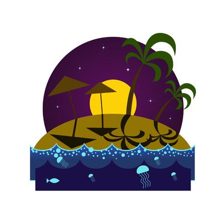 plancton: playa de la isla tropical en la noche con las palmas, los paraguas, las sombras y el plancton brillando bajo la luz de la luna Vectores
