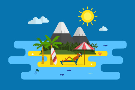 lounging: Tropical island, palms and relaxing guy lounging at the beach with surfing desk and umbrella. Idyllic paradise coast landscape with mountains at sunny day. Summer vacation concept in flat style design Illustration