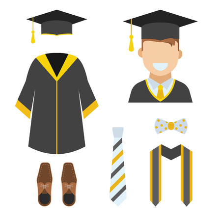 ceremonial: Graduation clothes and accessories set. Ceremonial gown, tie, ribbon, shoes, bow-tie and hat with happy graduate guy vector icon isolated on white. Graduation ceremony robe. Bachelor wear set.