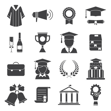 Graduation vector icon set of exam celebration elements. Man and woman graduate in hats and celebrating education party vector icons. Graduation award  silhouette web icons. Hat, gown, student, wreath  イラスト・ベクター素材