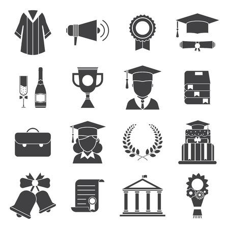 icono del vector de la graduación conjunto de elementos de celebración del examen. El hombre y la mujer de posgrado en los sombreros y la apreciación de los iconos del vector del partido educación. adjudicación de graduación iconos silueta web. Sombrero, vestido, estudiante, guirnalda Ilustración de vector