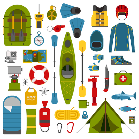 hike: Rafting and kayaking icons collection. River camping outdoor elements. Rafting equipment and gear collection. Vector rafting elements isolated on white. Rafting river hike set. Illustration