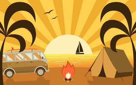 Tropical paradise beach campground scene with camping van and tourist tent. Palm island campsite place flat landscape with RV surfing bus. Summer travel beach camp concept.