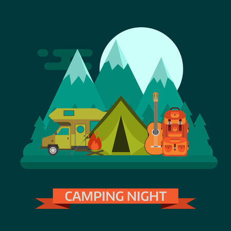 camper: Camping night concept landscape. Campsite place with camper van, tourist rucksack, guitar, campfire, forest, mountains and moon. Wilderness campsite area background. Illustration