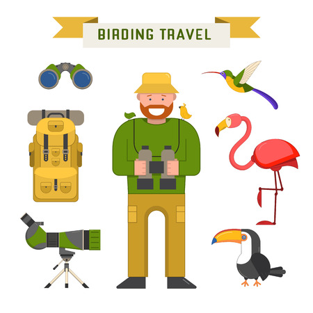 ornithologist: Birding travel elements isolated on white. Birdwatching tourism vector icons. Birdwatcher man, telescope, binoculars, tourist backpack and exotic birds.