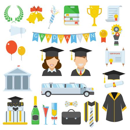 alumnus: Graduation vector icon set of exam celebration cartoon elements. Man and woman graduates in hats and isolated celebrating education party vector icons. Graduation hat, diploma pictogram.