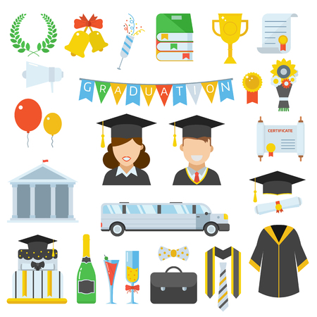 Graduation vector icon set of exam celebration cartoon elements. Man and woman graduates in hats and isolated celebrating education party vector icons. Graduation hat, diploma pictogram.